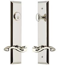 Portofino Lever with Fifth Avenue Tall Plate Keyed Entry Set, Grandeur FAVPRT19ENTR