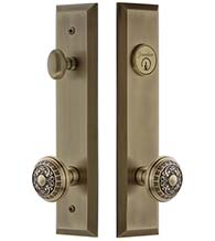 Keyed Entry Set Windsor Knob with Fifth Avenue Tall Plate, Grandeur FAVWIN19ENTR