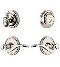 Georgetown Single Cylinder Entry Set Combo With Bellagio Lever, Grandeur GEOBELCOM
