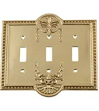 Meadows Triple Toggle Light Switch Cover, Grandeur MEASWPLTT3
