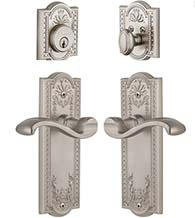 Parthenon Plate With Portofino Lever Single Cylinder Combo, Grandeur PARPRTCOM