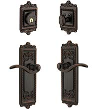 Windsor Plate With Bellagio Lever Single Cylinder Combo, Grandeur WINBELCOM
