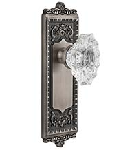 Crystal Biarritz Knob With Windsor Plate, Grandeur WINBIA