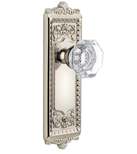 Crystal Chambord Knob With Windsor Rose