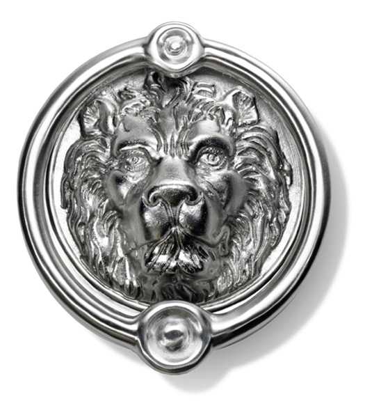 6 1/2 Inch Brushed Nickel Lion Head Door Knocker, Hamilton LDK