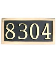 Polished Brass Four Number Address Plate Assembly, Brass Accents I08-P7540-605