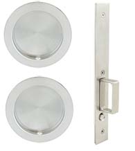 Round Luna Pocket Door Passage Set, INOX FH22PD8010