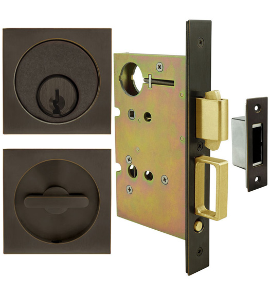 Square Urban Pocket Door Keyed Entry Set
