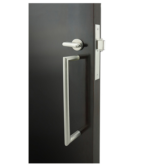 Mitered Pull Privacy Lock for Sliding Doors