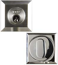 2-3/8 Inch Square Stainless Steel Single Cylinder Deadbolt, INOX SD310B