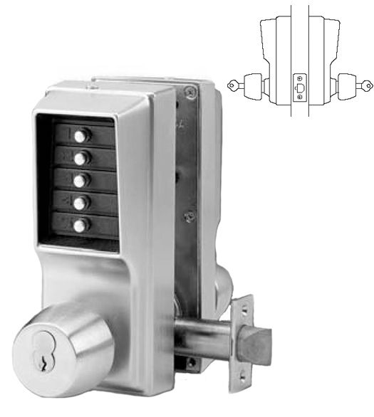 2 Sided Simplex Keypad Entry Lock With Key Override, KABA  EE1021SEE1021 US26D