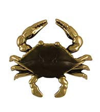 4-1/2 Inch Brass and Brown Crab Door Knocker, Michael Healy MHS131