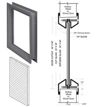 24 x 36 Lite Kit with Wired Glass, NGP L-FRA100-24x36-WG