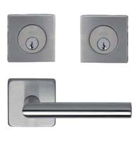 Omnia #12S Stainless Steel Entry Lever Set with Square Double Cylinder Deadbolt