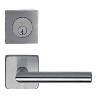 Omnia #12S Stainless Steel Entry Lever Set with Square Deadbolt, Omnia 12S/D9000SAUS32D