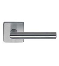Stainless Steel Door Lever Set With Square Rose, Omnia  #12S