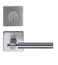 Contemporary Stainless Steel Entry Lever Set with Square Deadbolt, Omnia 25S/D9000SA