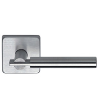 Designer Stainless Steel Door Lever Set with Square Rose, Omnia #25S