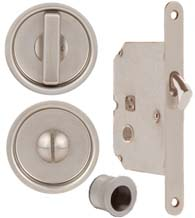 Round Stainless Steel Privacy Pocket Door Mortise Lock, Omnia 3910-US32D
