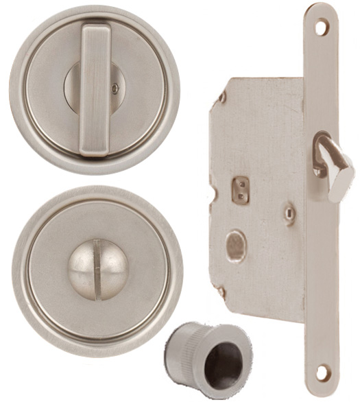 Satin Stainless Steel Round Pocket Door Lock