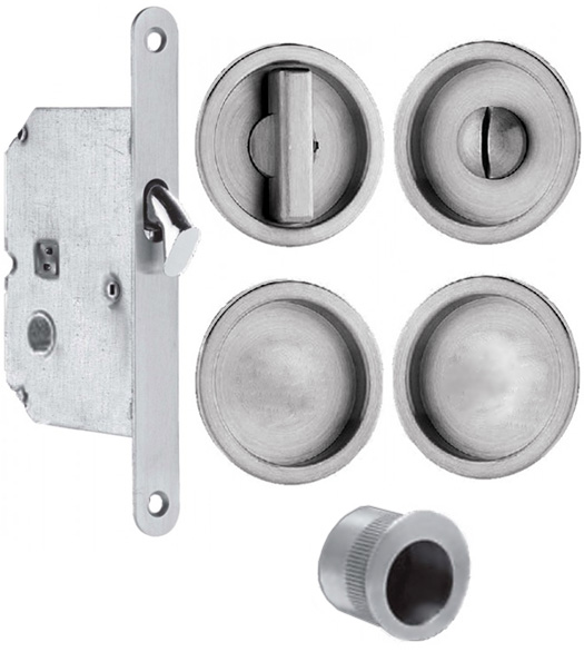 Stainless Steel Double Pocket Door Lockset