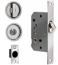 Contemporary Round Solid Brass Privacy Pocket Door Mortise Lock, Omnia 3910S