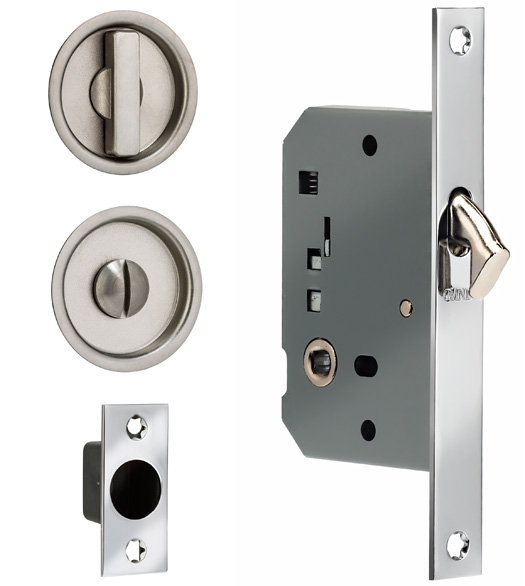 Charmant Contemporary Round Solid Brass Privacy Pocket Door Mortise Lock, Omnia 3910S