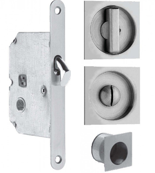 Stainless Steel Square Privacy Sliding Pocket Door Lock Set, Omnia  3911 US32D
