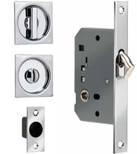 Solid Brass Modern Square Pocket Door Privacy Lock, Omnia 3911S