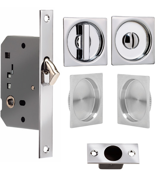 Solid Brass Square Double Pocket Door Lockset