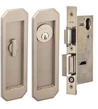Arched 7 Inch Pocket Door Keyed Entry Set, Omnia 7039/A