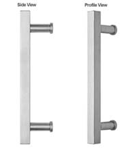 15 Inch Modern Square Stainless Steel Door Handle, Omnia 8190/300-US32D