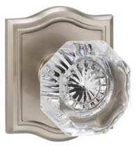 Clear Glass Knob With Arched Rose, Omnia 955AR