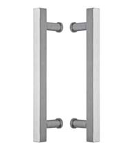 15 Inch Square Stainless Glass Door Handles, Pair, Omnia 8190/B300-US32D