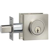 Square Single Cylinder Auxiliary Deadbolt, Omnia SQRDB