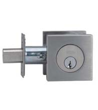 Contemporary Square Stainless Steel Deadbolt, Double Cylinder, Omnia D9000SAC