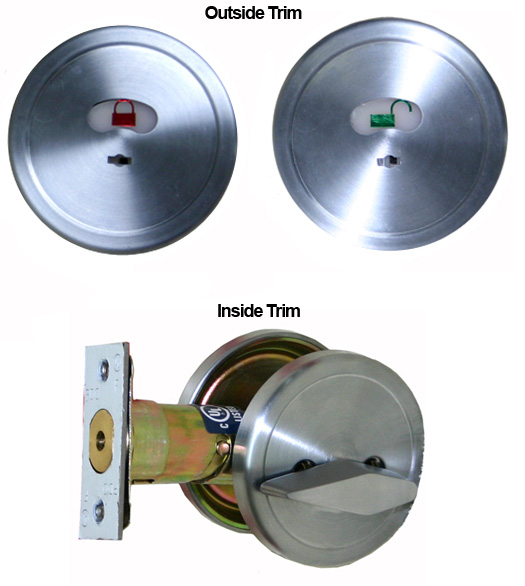 Satin Chrome Restroom Lock With Occupancy Indicator Pdq