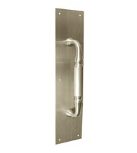 Solid Brass Heavy Duty Pull Plate 3-1/2 x 20 With 11 Inch Handle, Deltana PPH3520/DP2575