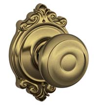 Georgian Knob With Brookshire Rose, Schlage F-GEO-BRK