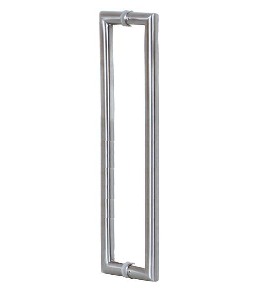 4 Foot Contemporary Glass Door Handles, Pair, Satin Stainless Steel ...