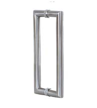 14 Inch Contemporary Glass Door Handles, Pair, Satin Stainless Steel