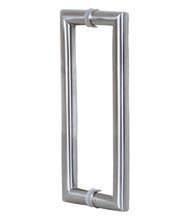 2 Foot Contemporary Glass Door Handles, Pair, Satin Stainless Steel