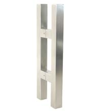 14 Inch Square Glass Door Handles, Pair, Satin Stainless Steel
