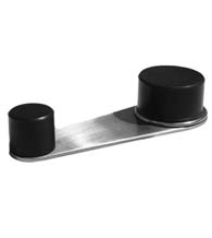 Stainless Steel Floor Mount Door Stop & Holder with Black Rubbers