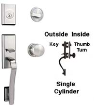 Modern Single Cylinder Handleset with Impressa Knob, Weslock 2165/2110
