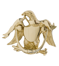Patriotic American Eagle Door Knocker, Brass Accents A04-K2000