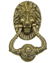 7-1/2 Lion Door Knocker, Brass Accents A07-K5000