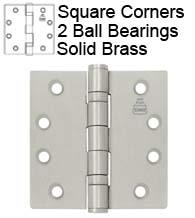 4-1/2 x 4 Solid Brass Hinge with 2 Ball Bearings, Bommer BB5001-454