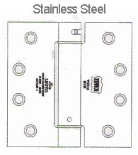 4-1/2 x 4 x Square Corners Stainless Steel Spring Hinge, Pair, Bommer LB4390C-454-630