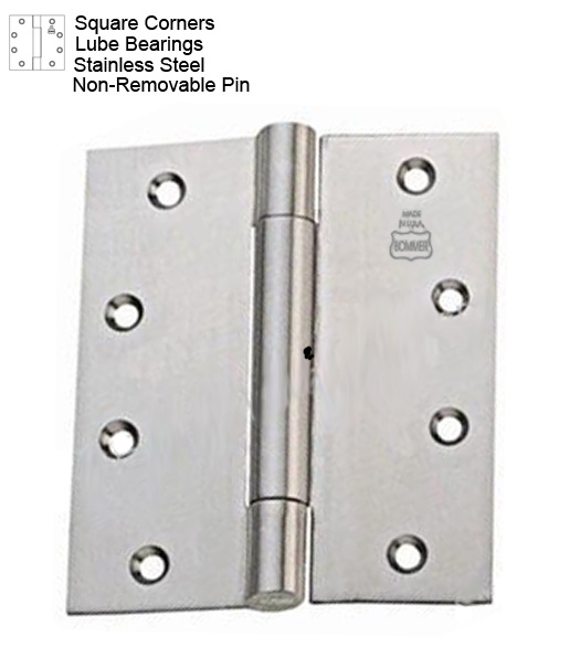 4-1/2 x 4-1/2 Stainless Steel Hinge with Lube Bearing and Non